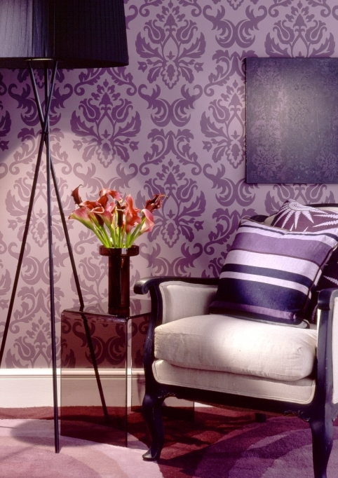 Attractive Purple Wall Decor Within Exotic Interior Design Wall Painting Techniques Of The Living Room Image