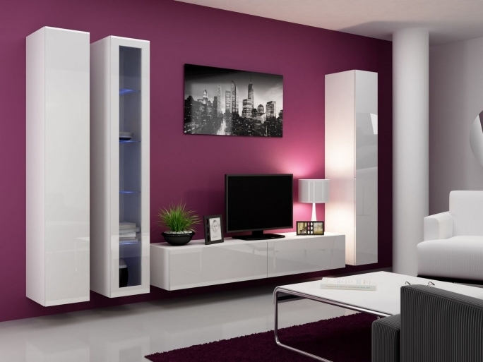 Awesome Purple Wall Decor Inside Pink Color Schemes Ideas For Living Room With Unique Tv Unit Panel Design  Photo