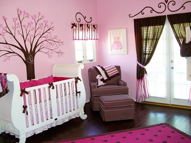 Baby Girl Nursery Themes Pink Color Of Wall Design And Wooden Laminated Flooring Ideas Images