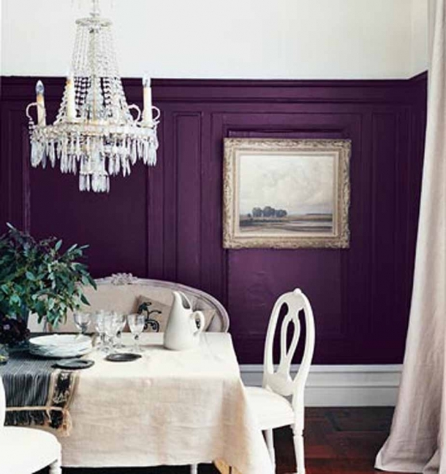 Brilliant Purple Wall Decor Inside Wooden Pattern Floor Tile Crystal Chandelier Lamp Photo