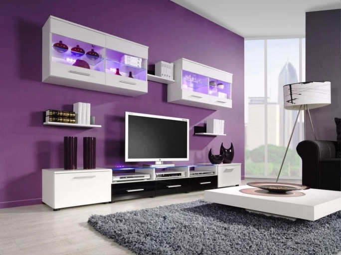 Classy Purple Wall Decor Inside Painting Inspiration For Modern Living Room Design  Image