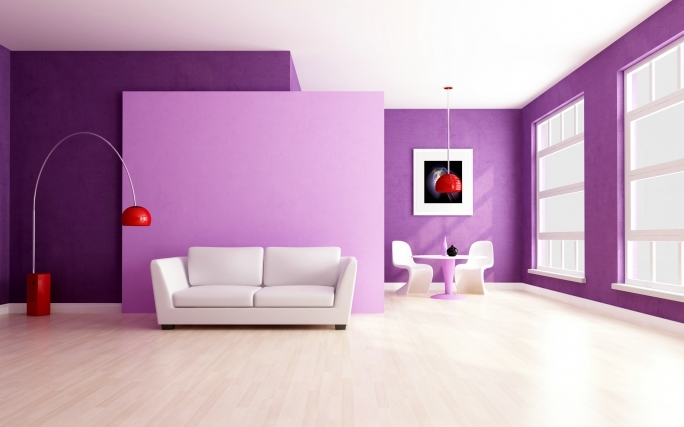 Classy Purple Wall Decor With Regard To Living Room Glamorous Purple Wall Colors Design With White Leather Loveseat Sofa Pic