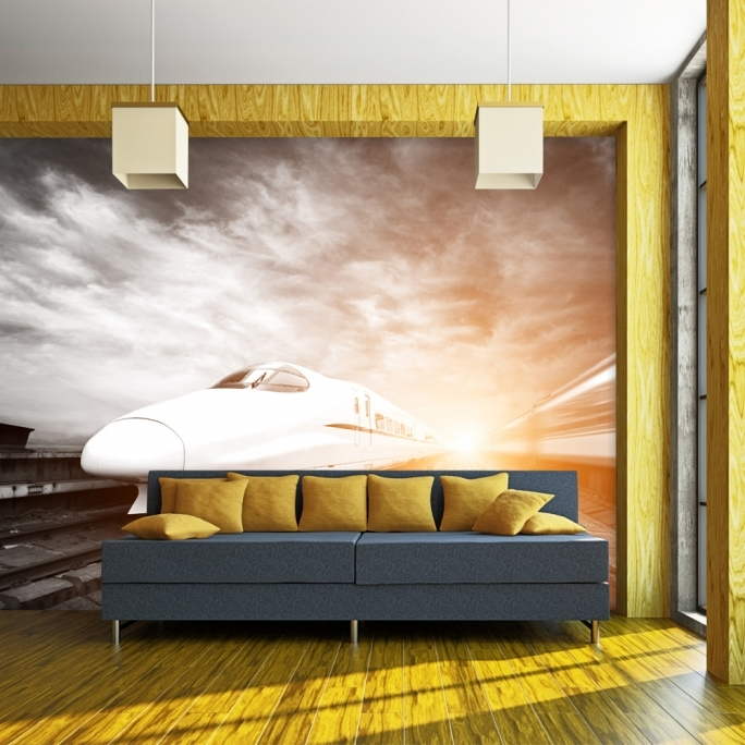 Classy Removable Wall Murals Modern Desgin High Speed Rail 3D Removable Wall Mural Wallpaper High Quality Photo