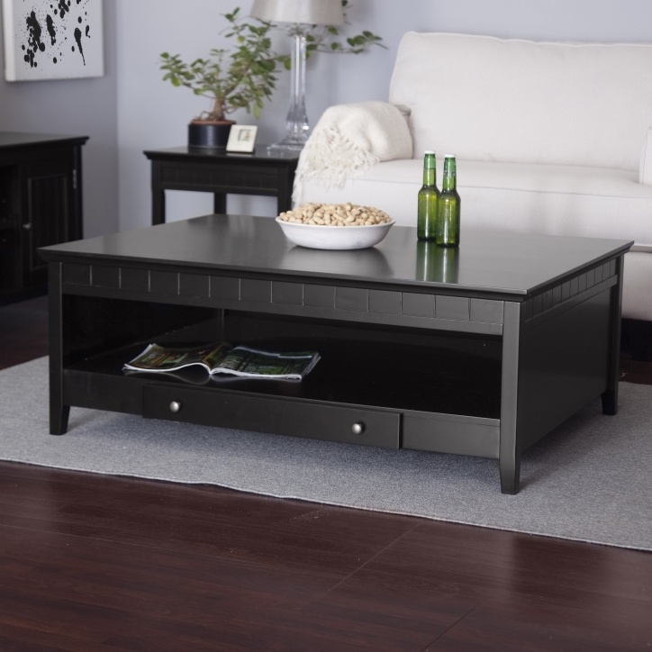 Contemporary Coffee Tables With Storage Black Painted Mahogany Wood Photo