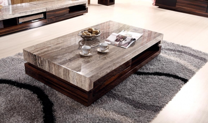 Contemporary Coffee Tables With Storage Freestanding Rectangle Dark Brown And Tan Granite Top Images