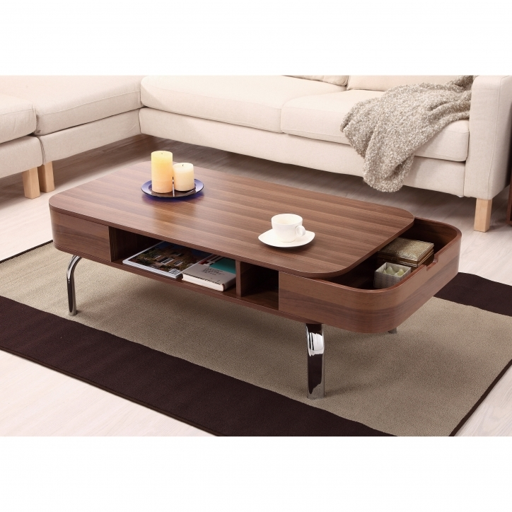 Contemporary Coffee Tables With Storage Using Polished Wooden Unique And Hidden Storage Pics