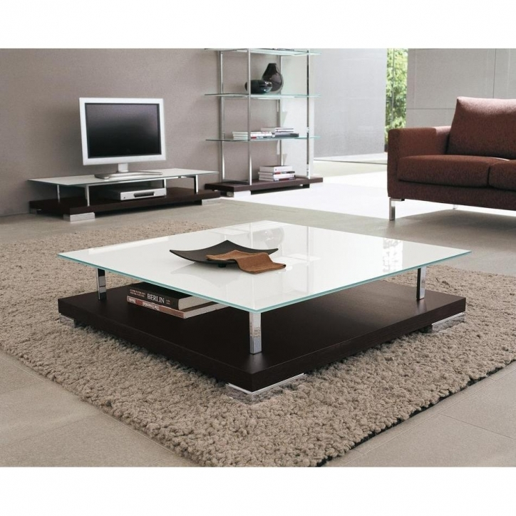 Contemporary Coffee Tables With Storage With Square Shape Wooden Level Table And White And Black Colors Pic