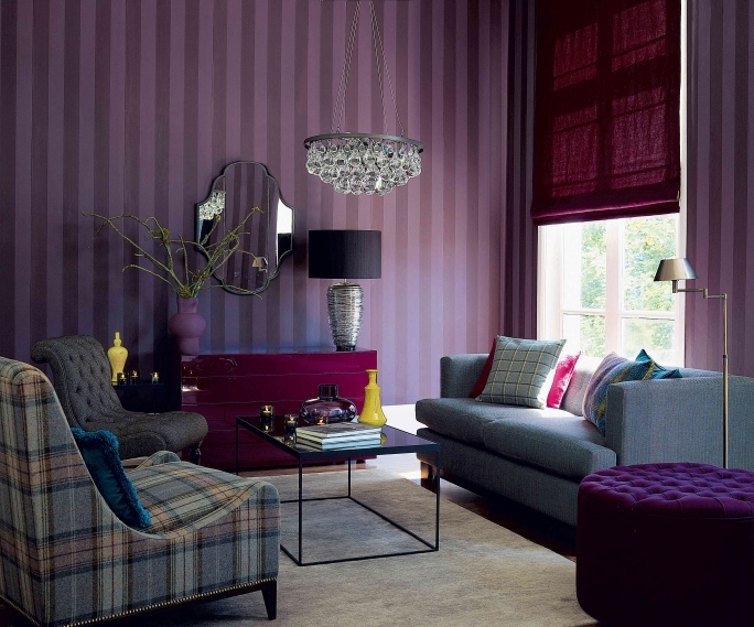 Delightful Purple Wall Decor Within Contemporary Living Room Ideas Images
