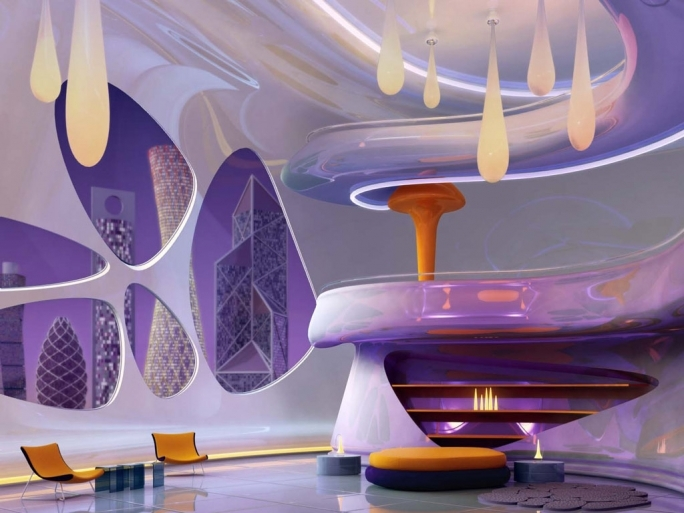 Extraordinary Purple Wall Decor Regarding Futuristic Living Room Ideas Picture