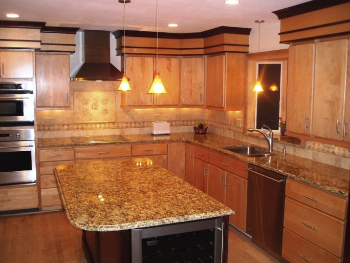 Gorgeous Santa Cecilia Light Granite Kitchen Countertops Colors   Photo
