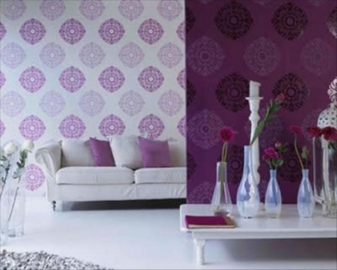 Great Purple Wall Decor Within Beautiful Purple Living Room Modern Home Design Pics