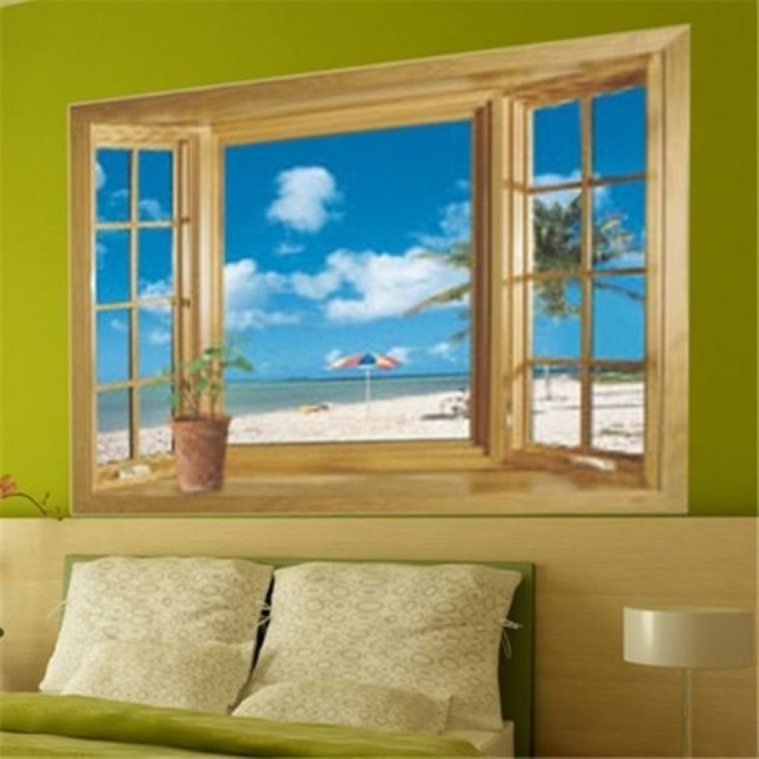 Inspirational Removable Wall Murals 3D Beach Window View Removable Wall Stickers Vinyl Decal Beach Wall Murals Home Decor Picture