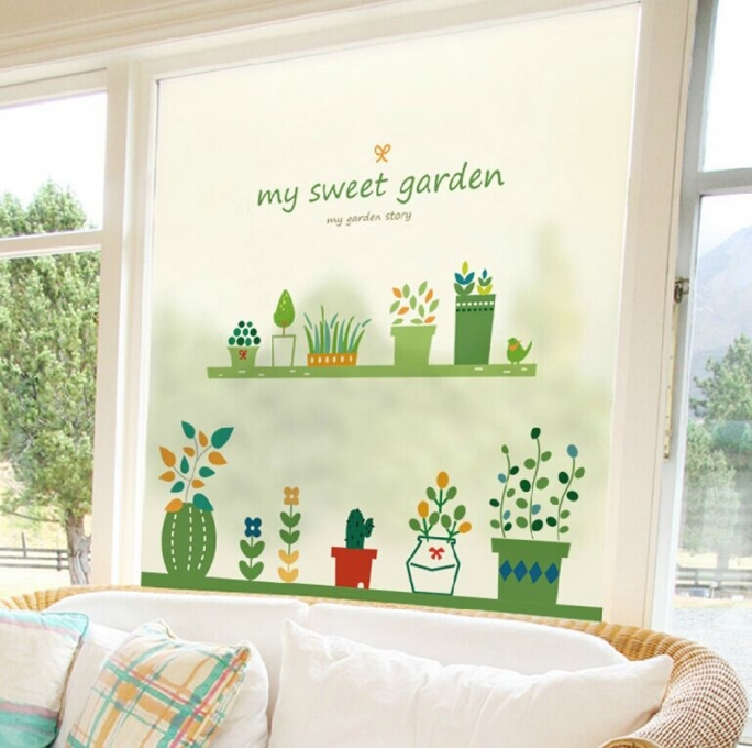 Marvelous Removable Wall Murals Cactus Green Plant Flower Sweet Garden Leaf Removable Colorful Wall Sticker Ideas Photo