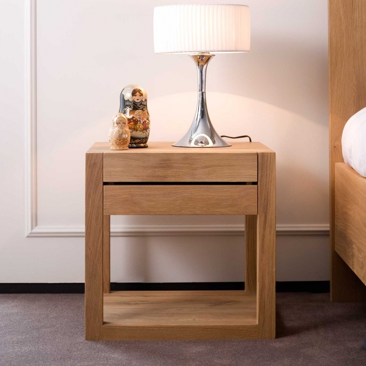 Narrow Bedside Table Furniture Square Teak Wood With Drawer Pics