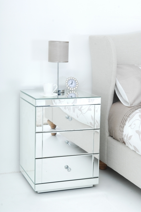 Narrow Bedside Table Mirrored With Drawer Perfect For Small Bedroom Design Photo