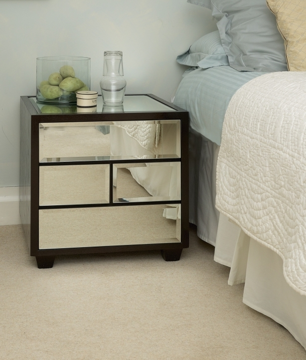 Narrow Bedside Table Vintage Mirrored Storage With Simple Pattern For Bedroom Decorating Ideas Pictures