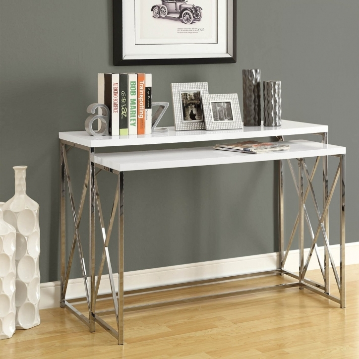 Narrow Hall Table Furniture Steel Stand White Wooden Top Silver Tube Table Decorations Images