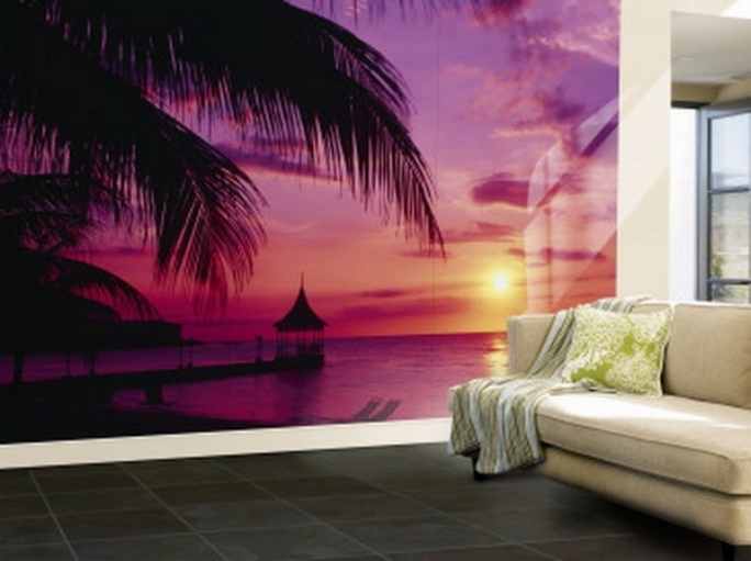 Outstanding Purple Wall Decor Inside Ocean Wallpaper Murals For Living Room Decorating Ideas Image