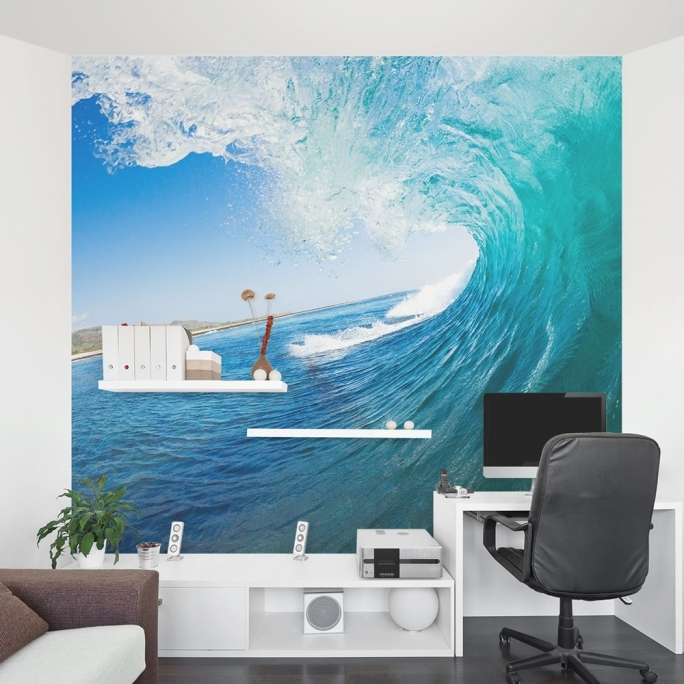 Outstanding Removable Wall Murals Ocean Wave Mural Office Beach Decor Images