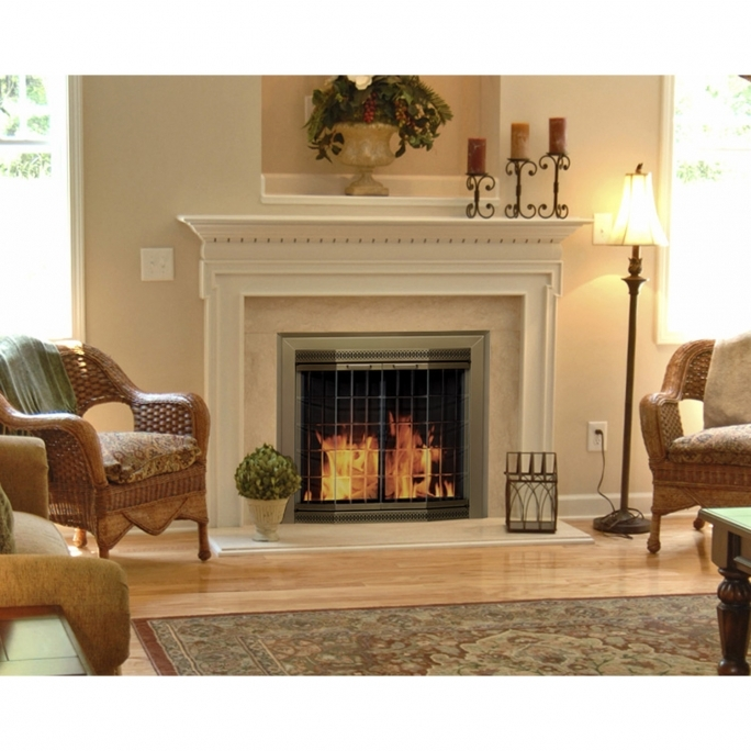 Pleasant Hearth Fireplace Doors Grandior Bay Fireplace Screen And Bi Fold Track Free Elegant Clear Glass Door GR 720