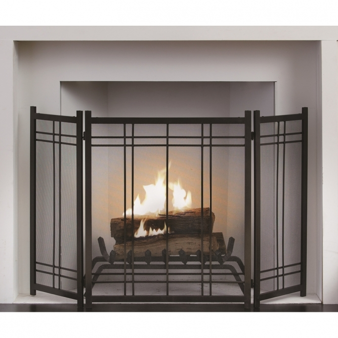 Pleasant Hearth Fireplace Doors Preston 3 Panel Steel Fireplace Screen FA016SA