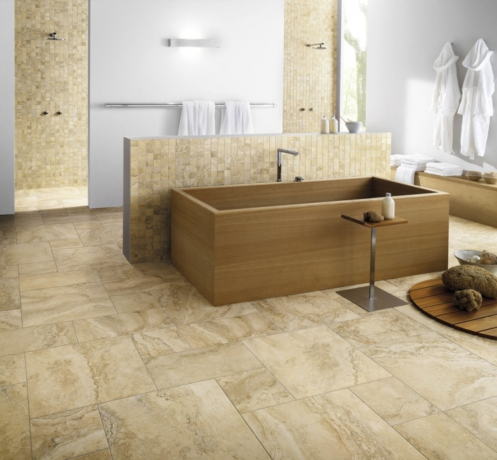 Porcelain Bathroom Tiles Decoration Cream Ideas Wooden Free Standing Bathtub Images