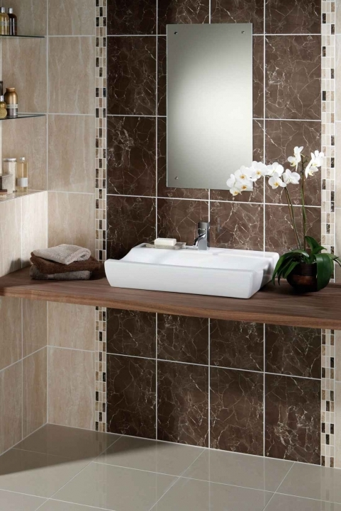 Porcelain Bathroom Tiles Designs Chocolate And Bisqu Mosaic Pattern Ceramic Mounted Rectangle Photo