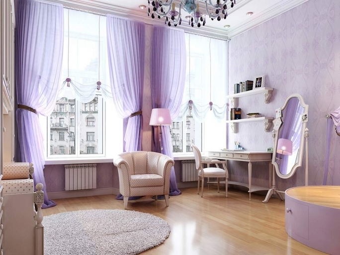Stunning Purple Wall Decor With Regard To Elegant Living Room Interior Design  Image