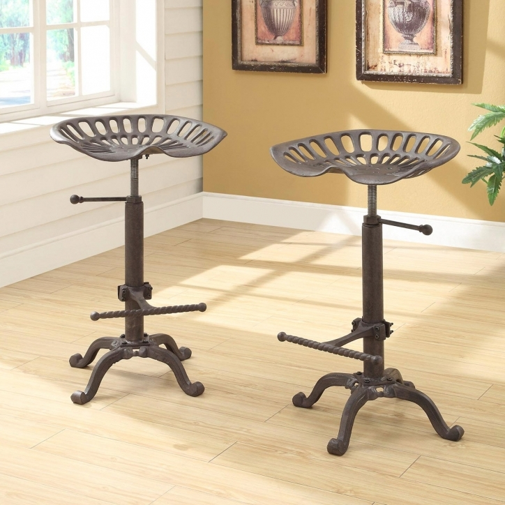 Tractor Seat Bar Stools Farmhouse Iron Gray Pic