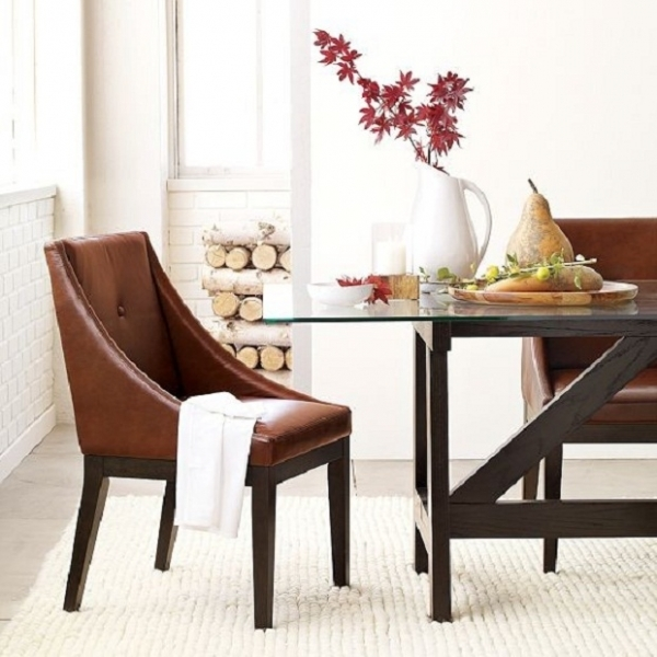 Brown Leather Dining Chair Design With Wooden Leg For Traditional Dining Table Furniture Ideas With Glass Top Images