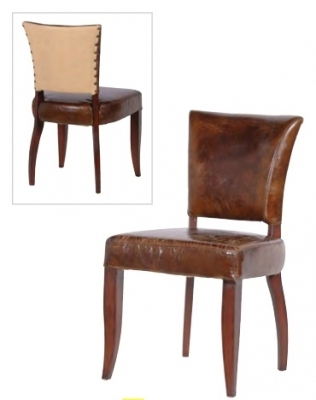Brown Leather Dining Chairs Gats With Linen Back Photo