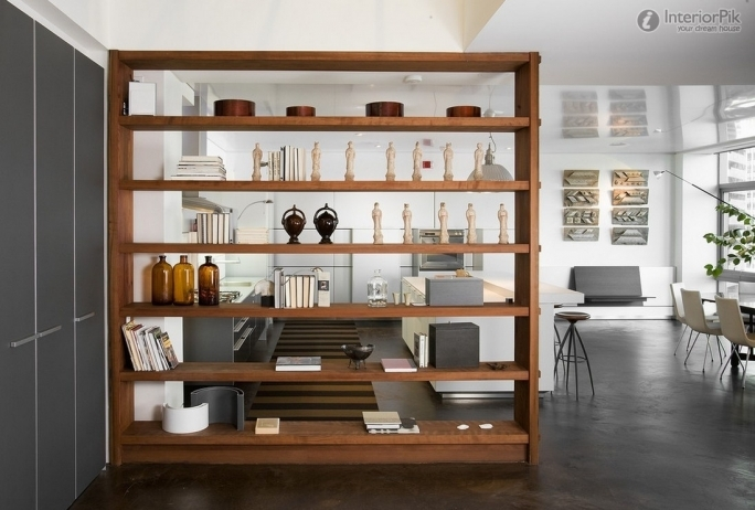 Simple Wood Open Shelving Units Living Room Divider Design  8