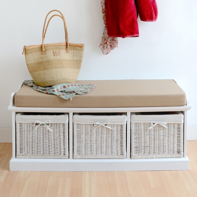 White Bench Storage With Baskets And Cushion For Interior Hallway Storage Bench Ideas Photo