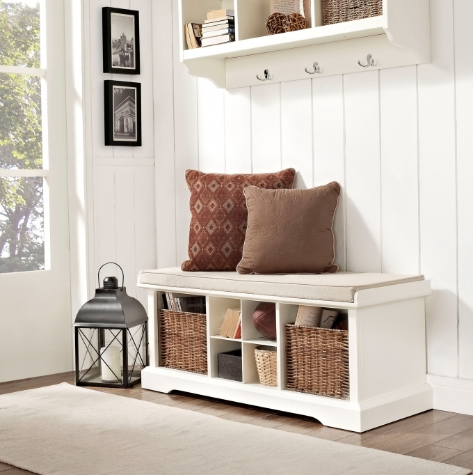 White Bench Storage With Baskets Entryway Floating Coat Rack White With Laminate Finish Images