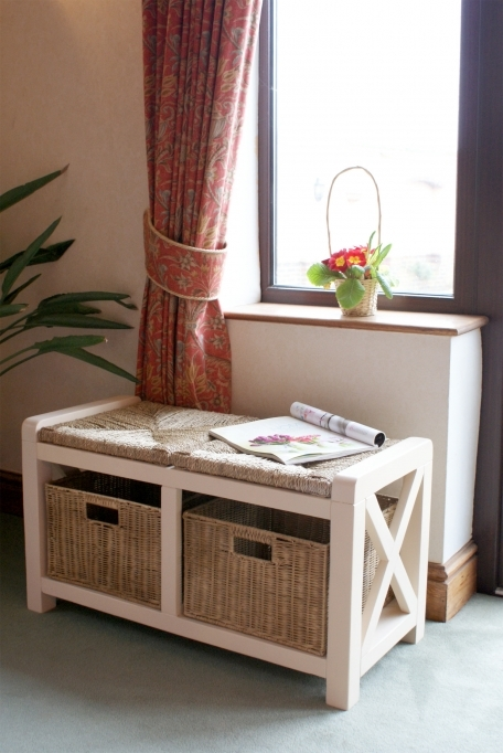 White Bench Storage With Baskets Hampton Interior And Exterior Ideas Images