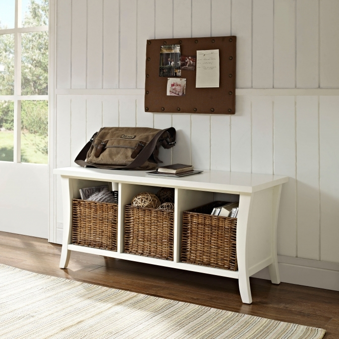 White Storage Bench With Baskets And Rectangle Dark Brown Wooden Bench Also Shoes Rack Photos