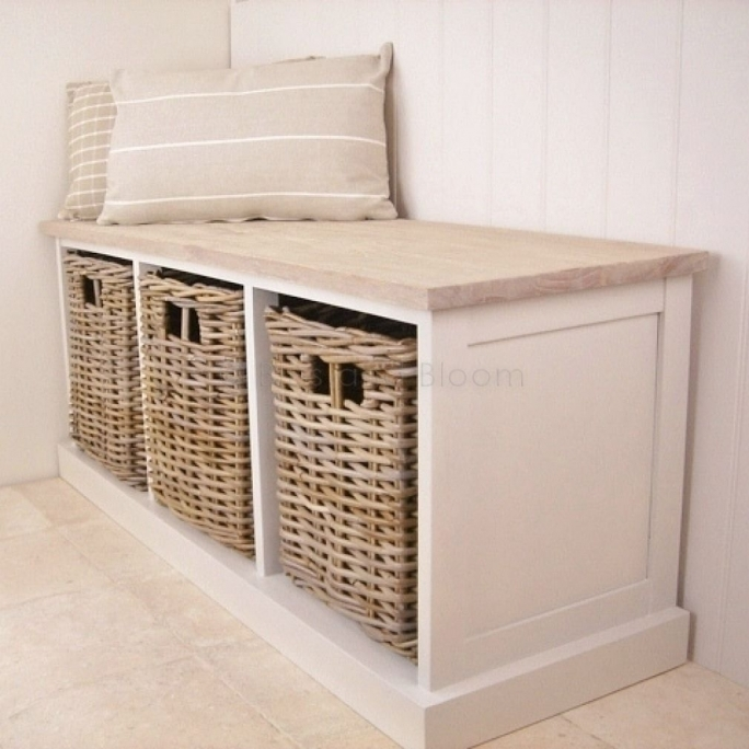 White Storage Bench With Baskets Best Ideas  Photos