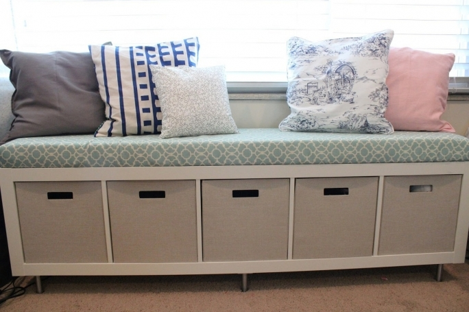 White Storage Benches With Baskets And Cushions Ideas Pictures