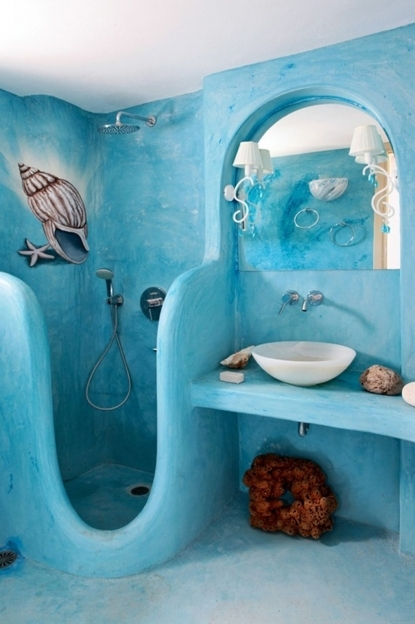 Beach Themed Decor For Bathroom Small And Narrow Inspired Painted With Blue Sea Wall Interior Color Images