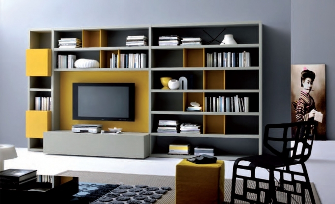 Bookshelf Decorating Ideas Modern Design On A Budget Free Standing Two Tone Grey Yellow Color Images
