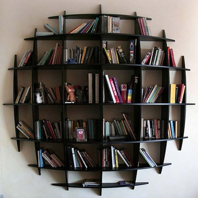 Bookshelf Decorating Ideas Round Shape Black Hanging Bookcase White Wall Photo