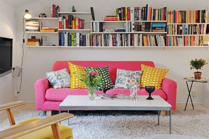 Bookshelf Decorating Ideas With Pink Sofa At Apartment Home Design Inspiration Mediterranean Style Pic