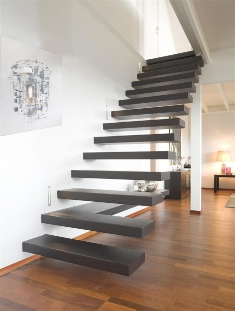 Floating Stair Case Design With Art Paper On Wall Plus Plywood Flooring Ideas Pics