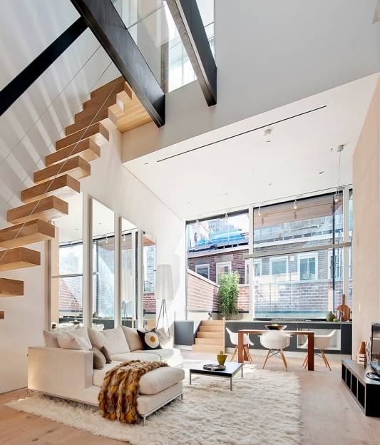 Floating Stair Case For Contemporary Living Room Decorating Ideas  Photo