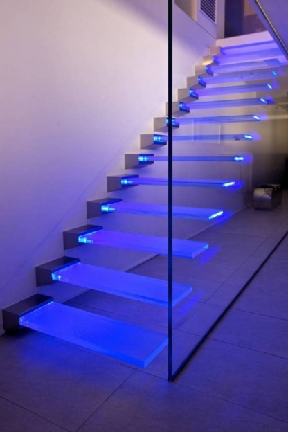 Floating Stair Kits Modern Design Regarding Led Glass Floating Stairs Photos