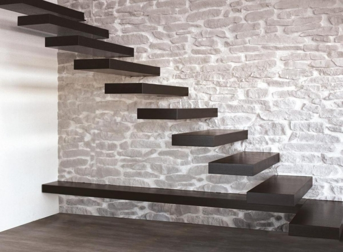 Floating Stair Kits Modern Ideas Mounted On Wall Plus Exposed Natural Stone Wall Design Picture