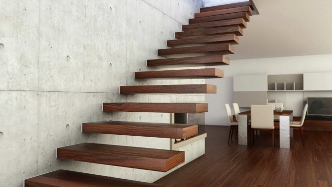 Floating Stairs Ultra Stylish Wooden Floating Staircase Feat Laminated Floor Images