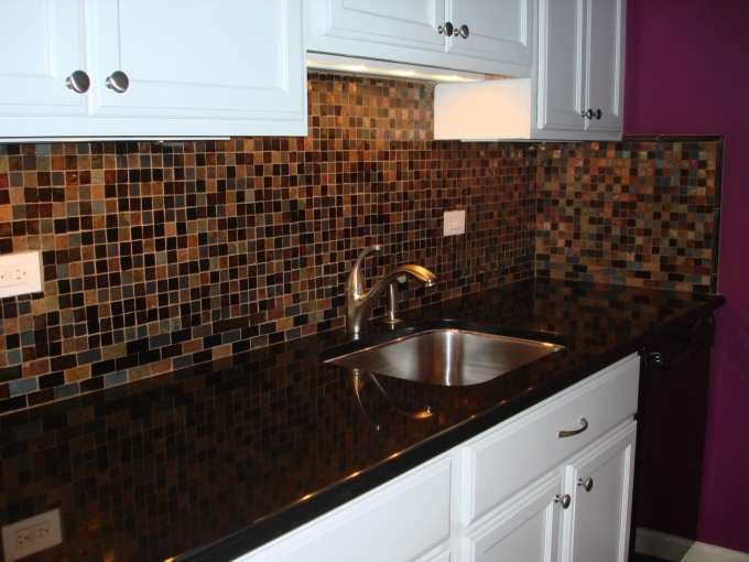 Oceanside Glass Tile Backsplash Cutom Kitchen Design New Jersey Pics