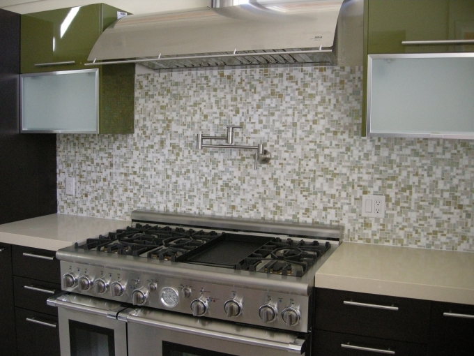 Oceanside Glass Tile For Kitchen Backsplash With Stove Pic