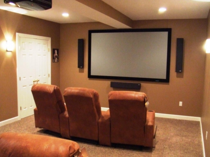 Small Media Room Design Ideas Basement Home With Brown Leather Sofas 07